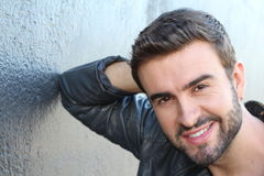 Sexy smiling male model with a beard Stock Photos