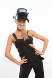 Sexy smiling woman in welder helmet Royalty Free Stock Photos