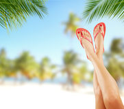 Sexy smooth woman legs with beach on background Royalty Free Stock Photo