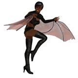 Sexy snarling black female vampire. Ethnic african female winged  vampire with bared fangs in skimpy costume Royalty Free Stock Images