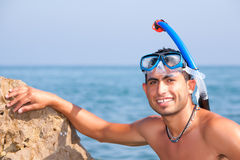 Sexy Snorkeler Resting Royalty Free Stock Image
