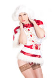 Sexy Snow Maiden. On a white background Royalty Free Stock Images