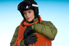 Sexy snowboard woman in green and orange Stock Photography