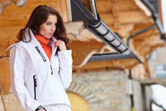 Sexy snowboarder woman  outdoors. Winter resort Royalty Free Stock Photography