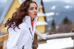 Sexy snowboarder woman  outdoors. Winter resort Stock Photography