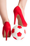 Sexy soccer. High heel shoe and soccer ball Stock Images