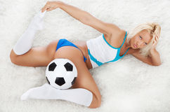 Sexy soccer fan Stock Photos