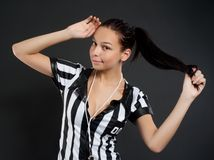Sexy Soccer Referee Stock Photography