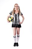 Sexy Soccer Referee with ball Royalty Free Stock Photography
