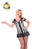 Sexy Soccer Referee with ball Stock Images