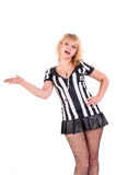 Sexy Soccer Referee with outstretched arm Stock Photo