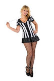 Sexy Soccer Referee with whistle Royalty Free Stock Image