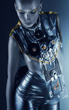 space woman in silver accessory Royalty Free Stock Photography