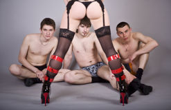 Sexy speelpaar Stock Foto