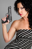 Sexy Spy. Pretty sexy spy with gun Royalty Free Stock Photos