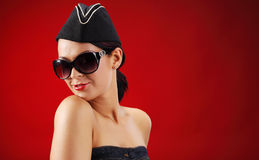 Sexy stewardess. Sexy women in short dress Royalty Free Stock Image