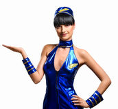 Sexy stewardess. Attractive stewardess isolated over white background Royalty Free Stock Photos