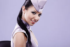Sexy stewardess woman Royalty Free Stock Images