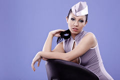 stewardess woman Stock Photo