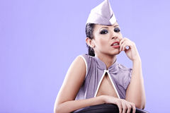 Sexy stewardess woman. Fly personel concept Stock Photos