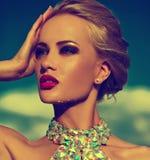Sexy stilvolles blondes Modell mit hellem Make-up im Abendkleid Stockbild