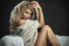 Sexy strict woman with red lips Royalty Free Stock Photography