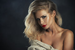 strict woman with red lips stock image