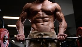 Sexy strong bodybuilder athletic men pumping up muscles with dum Royalty Free Stock Photography