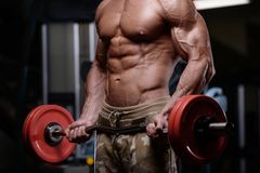Sexy strong bodybuilder athletic men pumping up muscles with dum. Sexy strong bodybuilder athletic fitness man pumping up abs muscles workout bodybuilding Royalty Free Stock Image