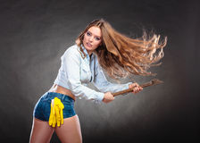 Sexy strong woman feminist with axe working. Sexy seductive woman holding axe chopper. Strong girl feminist working in man profession. Independent female Stock Photos