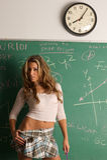 Sexy student en schoolbord Stock Foto's