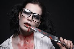 Sexy student girl in the blood.halloween make-up Stock Photo