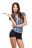 Sexy student with pen Royalty Free Stock Photos