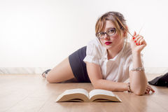Sexy Studentin Lizenzfreie Stockbilder