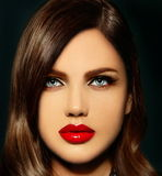 Sexy stylish brunette model with perfect skin bright lips Royalty Free Stock Image
