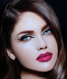 Sexy stylish brunette model with perfect skin bright lips Stock Photos