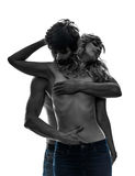 Sexy stylish couple lovers topless lovers silhouette. Sexy stylish topless couple  lovers caucasian in silhouette on white background Stock Image