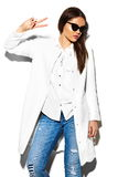 Sexy stylish fashion model in white coat with red lips Stock Photography