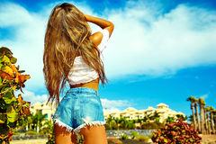 Sexy stylish girl in hipster clothes outdoors Royalty Free Stock Photos