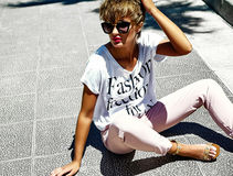 Sexy stylish girl model in summer clothes outdoors Royalty Free Stock Photo