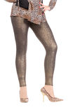 Sexy stylish legs in shimmering golden leggins Stock Images