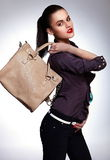 Sexy stylish model with bag Stock Photo