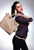 stylish model with bag Stock Photo