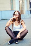 stylish model in casual summer hipster cloth in the street royalty free stock images