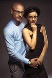 Sexy stylish retro couple in glasses Royalty Free Stock Photos