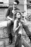 and stylish young couple wearing jeans Stock Image