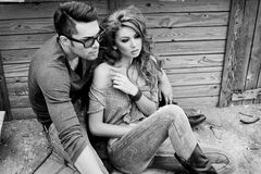 Sexy and stylish young couple wearing jeans Royalty Free Stock Images