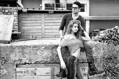 Sexy and stylish young couple wearing jeans Stock Photos