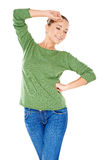 Sexy stylish young woman in green Royalty Free Stock Image