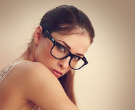 Sexy successful female model in fashion glasses Royalty Free Stock Photography